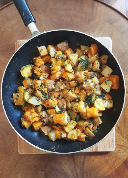 pan-roasted potatoes and squash